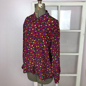 Celine bright multicolor silk button down blouse